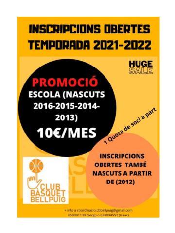 Club Bàsquet Bellpuig_20-21 preinscripcions